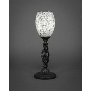 Elegante Dark Granite One-Light Mini Table Lamp with Black Fusion Glass