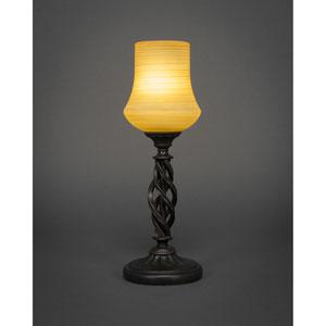 Elegante Dark Granite One-Light Mini Table Lamp with Cayenne Linen Glass