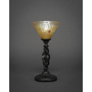 Elegante Dark Granite Mini Table Lamp with Amber Crystal Glass