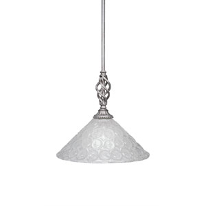 Elegante Aged Silver 12-Inch One-Light Pendant with Italian Bubble Glass