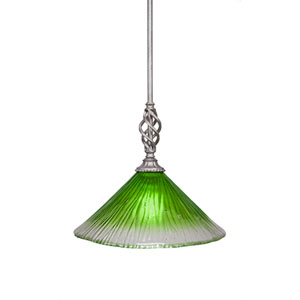 Elegante Aged Silver 12-Inch One-Light Pendant with Kiwi Green Crystal Glass