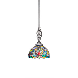 Elegante Aged Silver One-Light Mini Pendant with Kaleidoscope Mini Tiffany