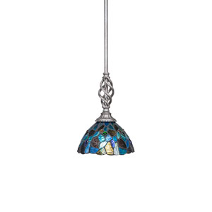 Elegante Aged Silver One-Light Mini Pendant with Blue Mosaic Mini Tiffany Glass
