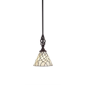 Eleganté Dark Granite One-Light Mini Pendant with Sandhill Tiffany Glass