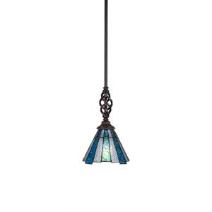 Eleganté Dark Granite One-Light Mini Pendant with Sea Ice Tiffany Glass