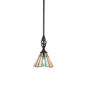 Eleganté Dark Granite One-Light Mini Pendant with Sequoia Tiffany Glass