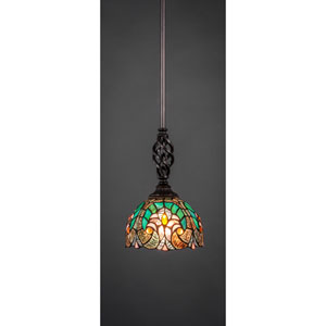 Elegante Dark Granite One-Light Pendant with Cypress Tiffany Glass