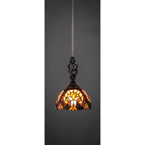 Elegante Dark Granite One-Light Pendant with Ivory Cypress Tiffany Glass