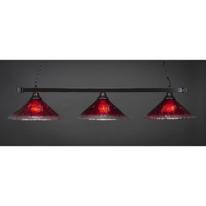 Billiard Black Copper Square Three-Light Island Pendant with 16-Inch Raspberry Crystal Glass Shade