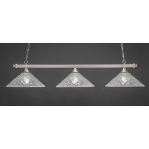 Billiard Brushed Nickel Square Three-Light Island Pendant with 16-Inch Italian Bubble Glass Shade