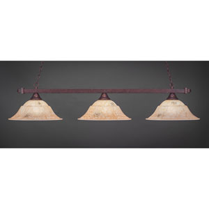 Billiard Bronze Square Three-Light Island Pendant with 16-Inch Italian Marble Glass Shade