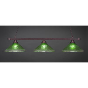 Billiard Bronze Square Three-Light Island Pendant with 16-Inch Kiwi Green Crystal Glass Shade