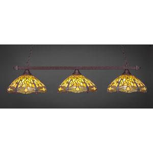 Billiard Bronze Square Three-Light Island Pendant with 16-Inch Amber Dragonfly Tiffany Glass