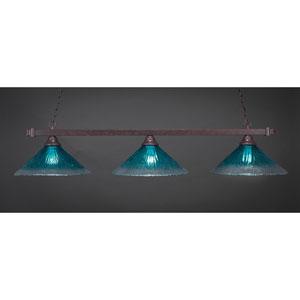 Square Dark Granite Billiard Light with Teal Crystal Glass