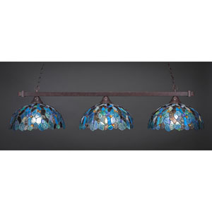 Square Dark Granite Billiard Light with Blue Mosaic Tiffany Glass