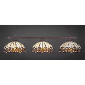 Square Dark Granite Billiard Light with Roman Jewel Tiffany Glass