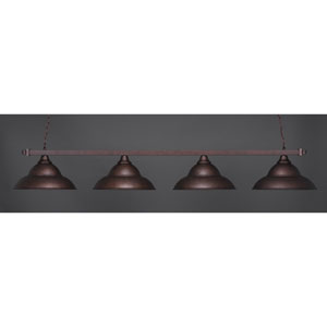 Square Bronze Four-Light Island Pendant with Double Bubble Shade