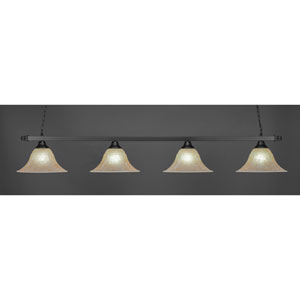 Square Matte Black Four-Light Island Pendant with Double Bubble Metal Shade