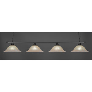 Square Matte Black Four-Light Island Pendant with 16-Inch Amber Marble Glass