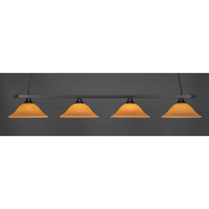 Square Matte Black Four-Light Island Pendant with Cayenne Linen Glass