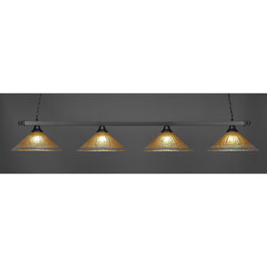 Square Matte Black Four-Light Island Pendant with Amber Crystal Glass