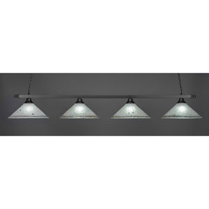 Square Matte Black Four-Light Island Pendant with Frosted Crystal Glass