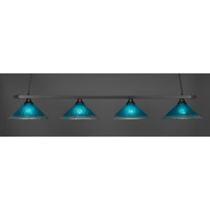 Square Matte Black Four-Light Island Pendant with Teal Crystal Glass