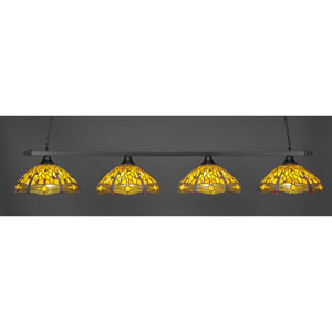 Square Matte Black Four-Light Island Pendant with Amber Dragonfly Tiffany Glass