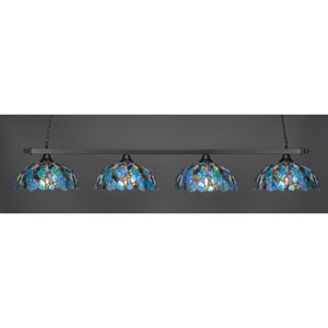 Square Matte Black Four-Light Island Pendant with Blue Mosaic Tiffany Glass