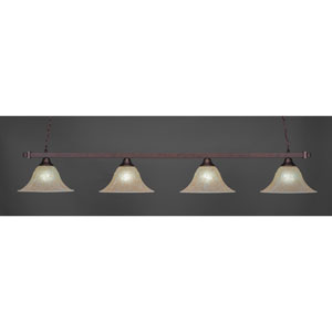 Billiard Bronze Square Four-Light Island Pendant with 14-Inch Amber Marble Glass Shade