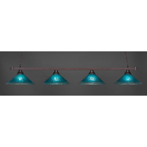 Billiard Bronze Square Four-Light Island Pendant with 16-Inch Teal Crystal Glass Shade