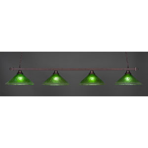 Billiard Bronze Square Four-Light Island Pendant with 16-Inch Kiwi Green Crystal Glass Shade