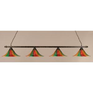 Billiard Bronze Square Four-Light Island Pendant with 16-Inch Mardi Gras Glass Shade