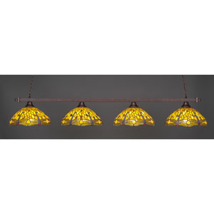 Billiard Bronze Square Four-Light Island Pendant with 16-Inch Amber Dragonfly Tiffany Glass