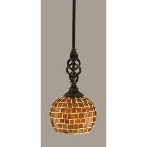 Elegante Dark Granite 6-Inch One Light Mini Pendant with Copper Mosaic Glass