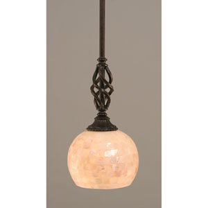 Elegante Dark Granite One-Light Mini Pendant with Seashell Glass Shade