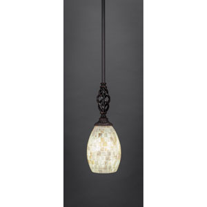 Elegante Dark Granite Mini Pendant with Seashell Glass