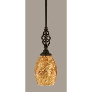 Elegante Dark Granite 5-Inch One Light Mini Pendant with Gold Fusion Glass