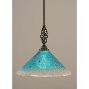 Elegante Dark Granite One-Light Mini Pendant with Teal Crystal Glass Shade