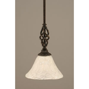 Elegante Dark Granite One-Light Mini Pendant with Italian Bubble Glass Shade