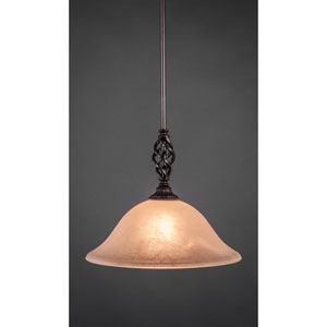 Elegante Dark Granite One-Light Mini Pendant with Amber Marble Glass Shade