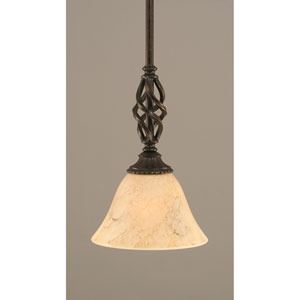 Elegante Dark Granite One-Light Mini Pendant with Italian Marble Glass Shade