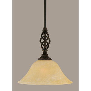 Elegante Dark Granite 10-Inch One Light Mini Pendant with Amber Marble Glass