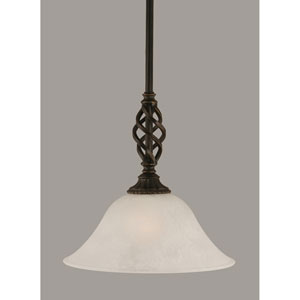 Elegante Dark Granite 10-Inch One Light Mini Pendant with White Marble Glass