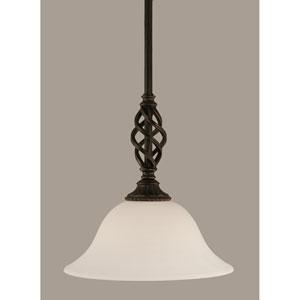 Elegante Dark Granite 10-Inch One Light Mini Pendant with White Linen Glass