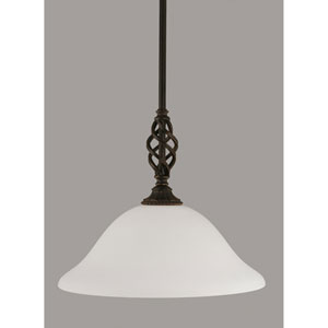 Elegante Dark Granite 12-Inch One Light Pendant with White Linen Glass