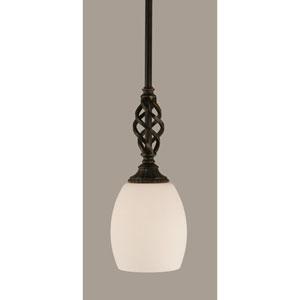 Elegante Dark Granite 5-Inch One Light Mini Pendant with White Linen Glass