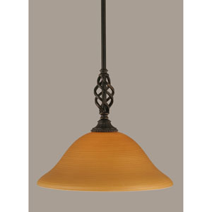 Elegante Dark Granite 12-Inch One Light Pendant with Cayenne Linen Glass