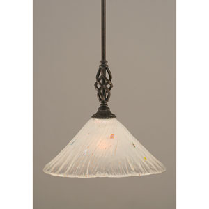 Elegante Dark Granite One-Light Mini Pendant with Frosted Crystal Glass Shade