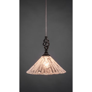 Elegante Dark Granite One-Light Mini Pendant with Italian Ice Glass Shade